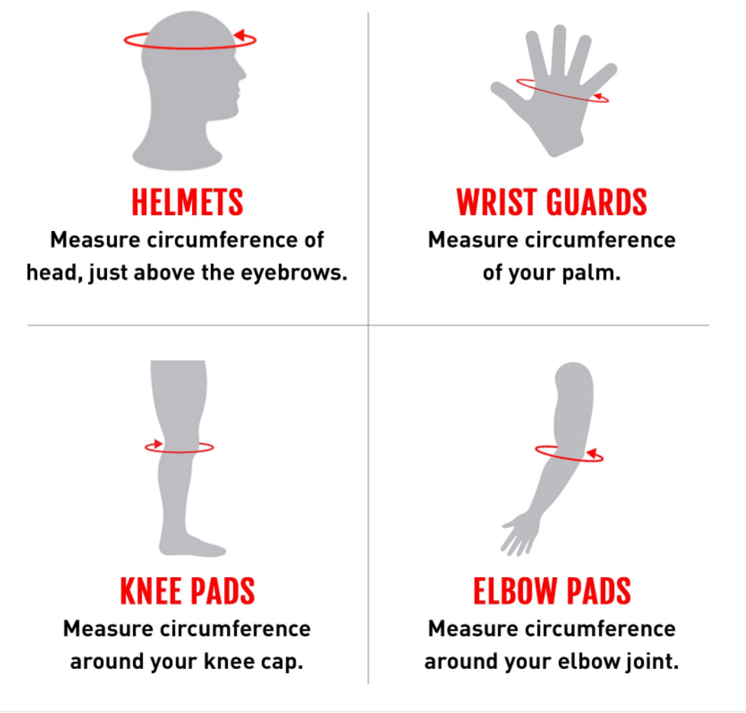 size guide elbow pads stealth hardcap